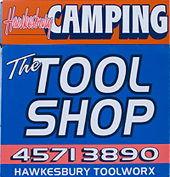 Hawkesbury Toolworx and Camping Sign